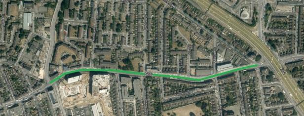 aerial image cycle lane