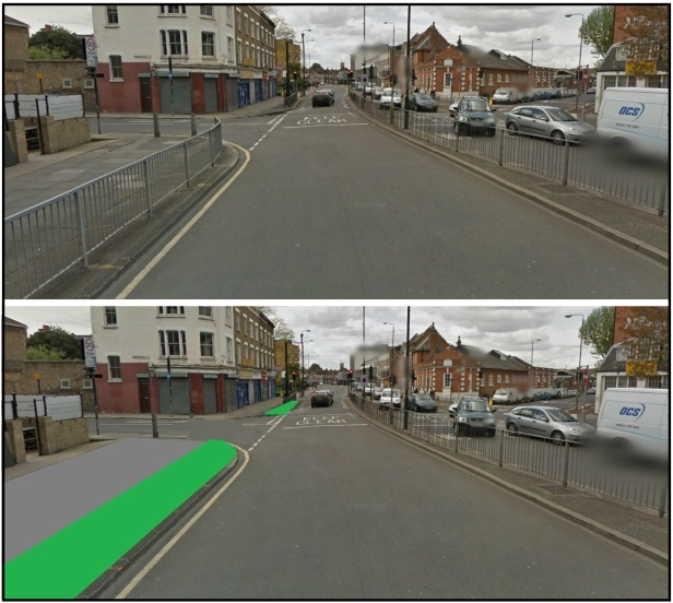 greenwich cycle lane before and after