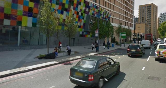 Wide paving & no cycle lane.