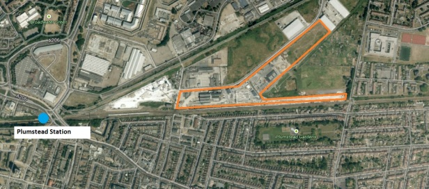 Large new Crossrail facility highlighted in orange