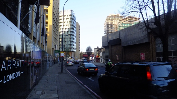 Very busy road. Wide paving (in future). No cycle lane
