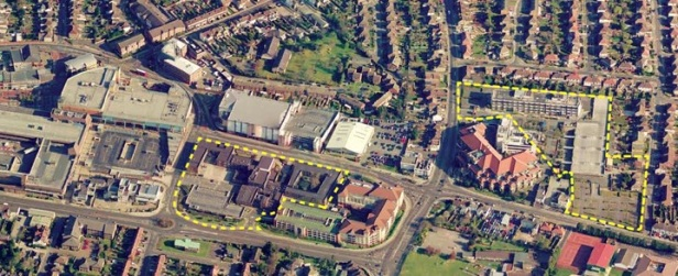 Tesco site on left. Housing on right.