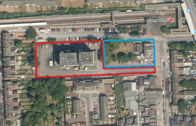 Pub site in blue. BT exchange in red