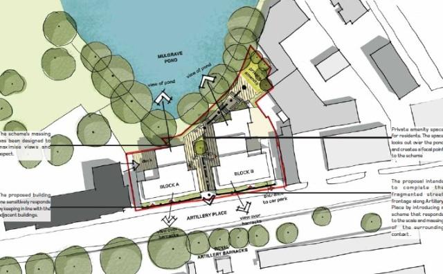 Aerial plan 38 artillery place
