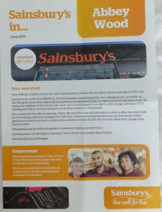 Sainsburys leaflet with details of new store