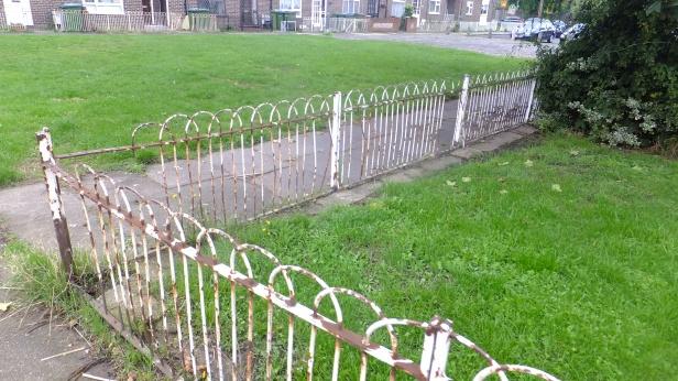 Council fence in public area. Pretty typical neglect.
