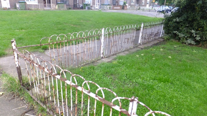 Council fence in public area. Pretty typical neglect.