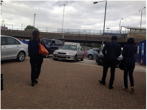 Pedestrian exit to station becomes a car park. Photo courtesy of James Dandridge