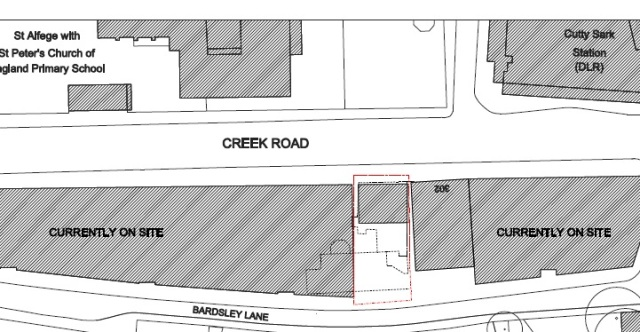Site plan shows amount of land at rear
