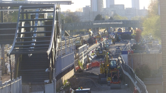 Looking west from the station area to the Crossrail track corridor