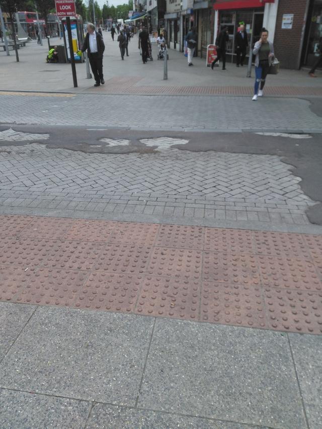 Road surface broken