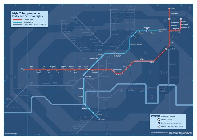 Night Tube Pocket Map-August 2016(c)