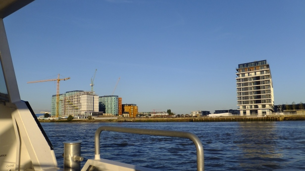 Enderby Wharf on left. River Gardens on right. Future blocks will fill the gap